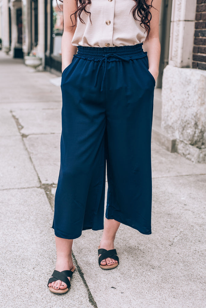Eve Smocked Waist Pant, Navy