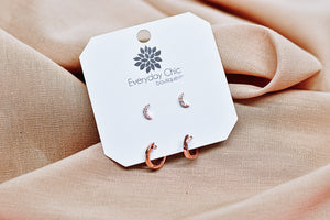 Moon & Hoop Earring Set