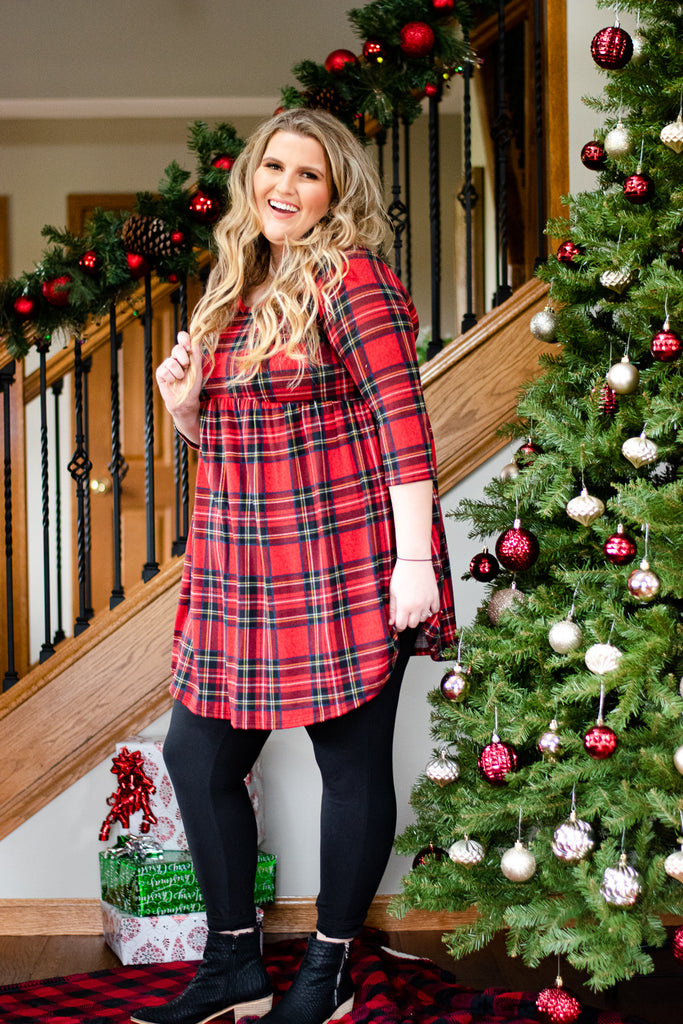 Ever So Merry Dress, Red Plaid