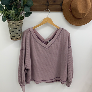 Brix Bubble  Sleeve Top, Misty Mauve