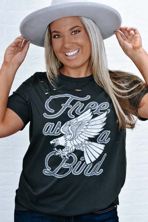 Free As A Bird Graphic Tee, Black