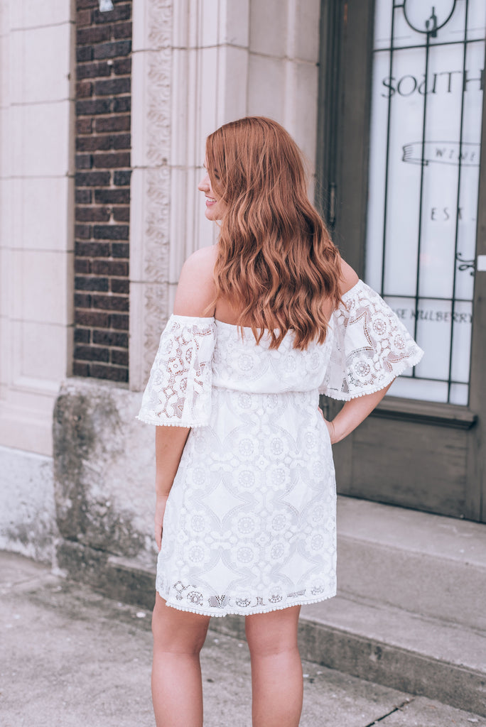Vintage Lace Off Shoulder White Dress