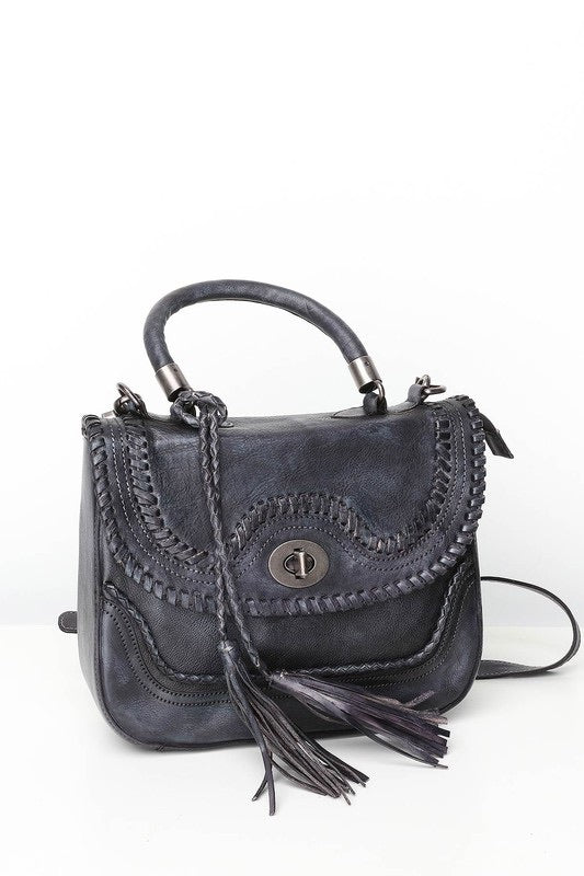 Leather Braided Satchel, Grey