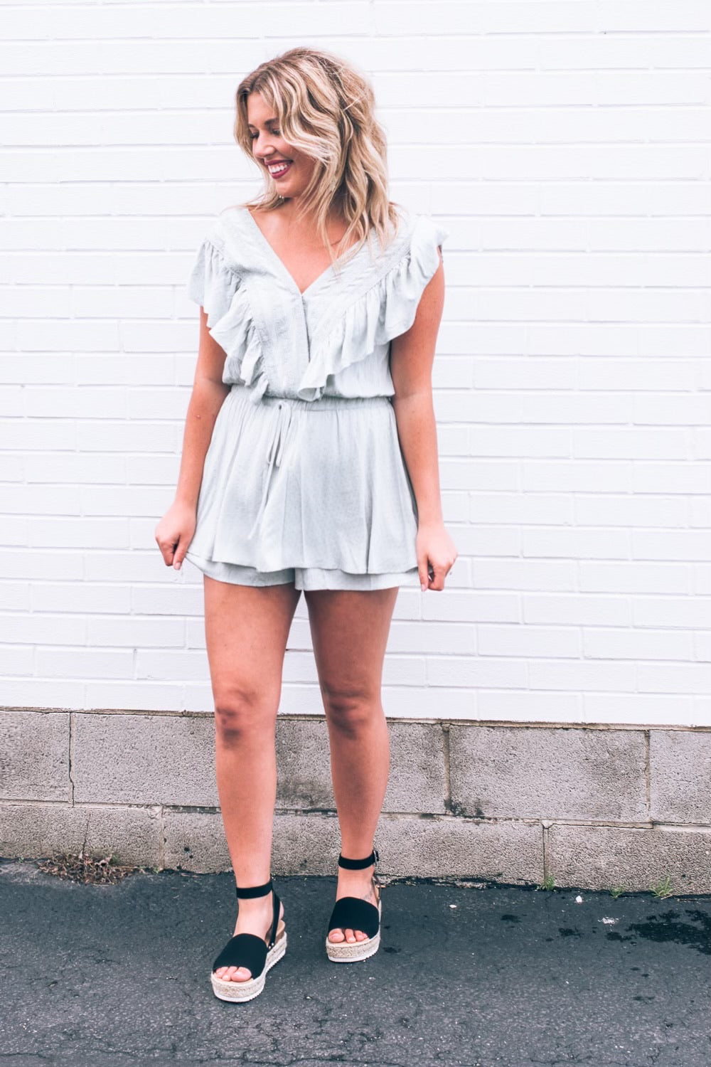Something To Do Romper , Teal