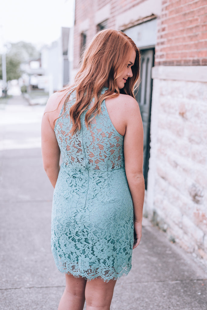 Looking For Love Lace Dress, Slate Green
