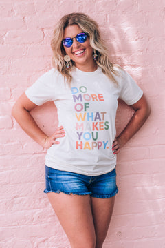 What Makes You Happy Graphic Tee , Cream