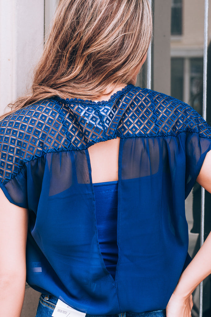 Navy Laced Top, navy
