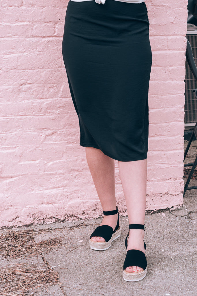 On The Go Midi Skirt, black
