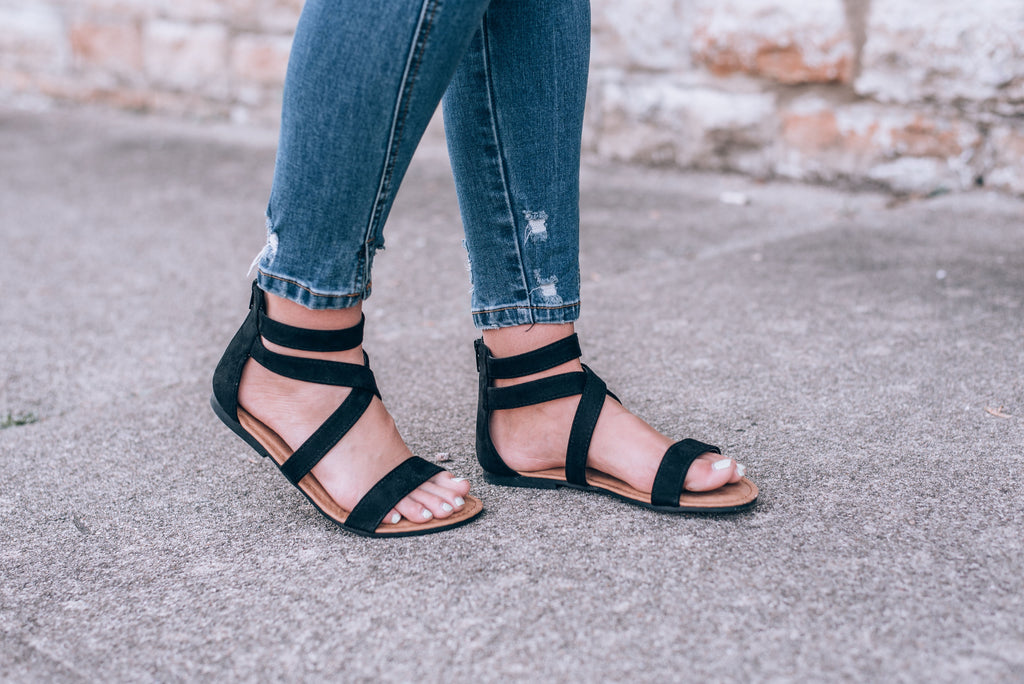 Summer Strappy Ankle Sandal, Black