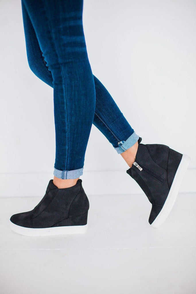 Zoe Wedge Sneaker, Black