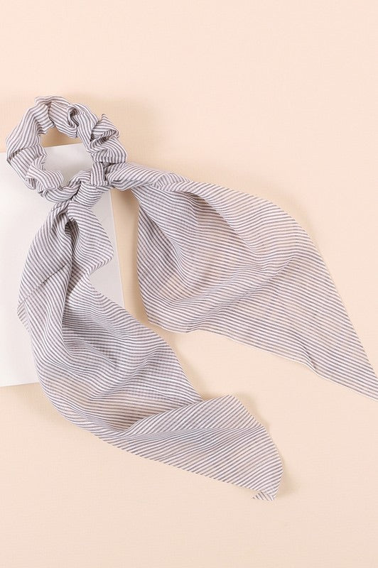 Striped Color Ponytail Scarf Scruchie