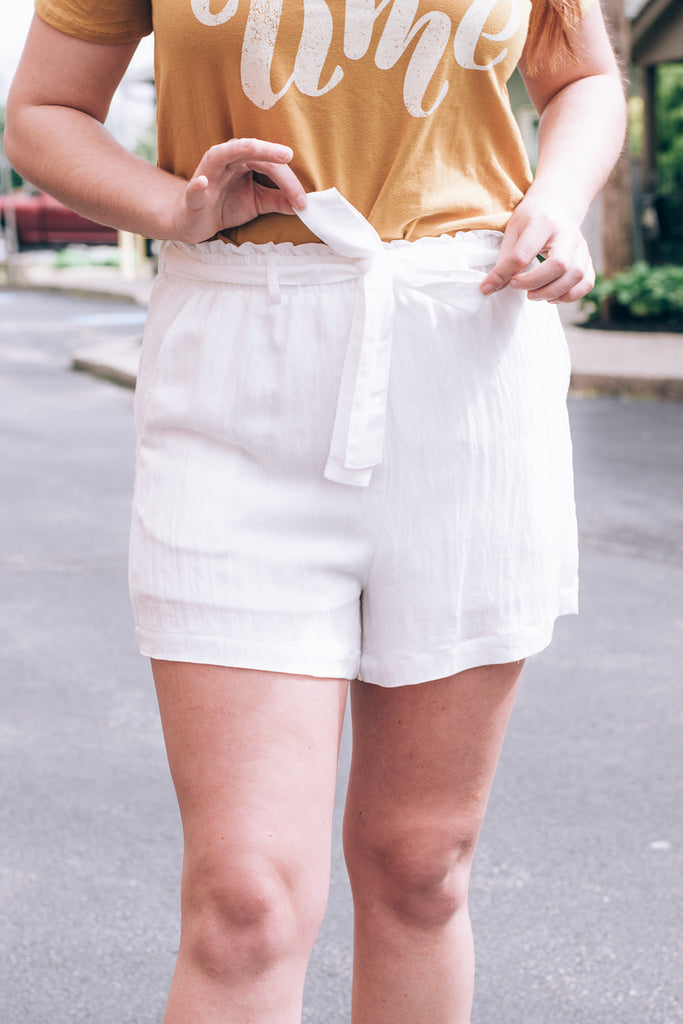 On a Voyage Belted  Shorts, Off-White
