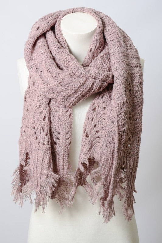 Boho Knitted Scarf, Lavender