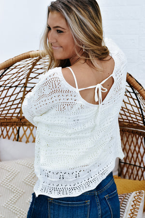 Call It What You Want Crochet Sweater, Cream