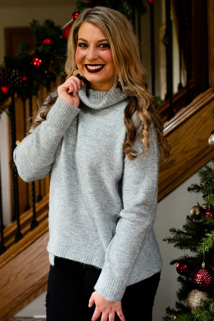 Chic For You Turtleneck Sweater, Grey