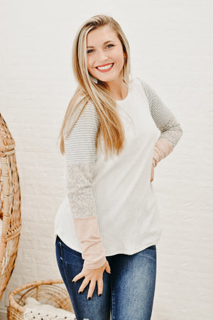 Back On Again Waffle Knit Top, Ivory