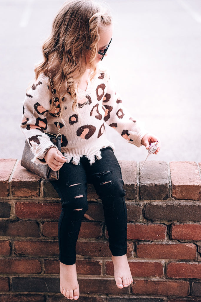 Little Leopard Destroyed Sweater - Toddler