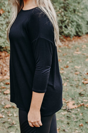 3/4 sleeve drop shoulder top, Black