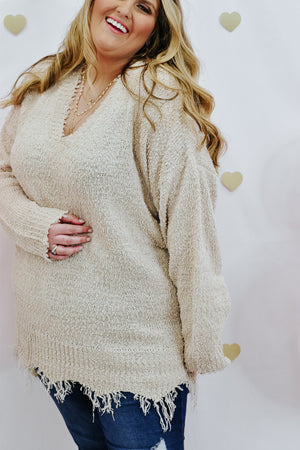 Free Fallin' Frayed Sweater, Stone