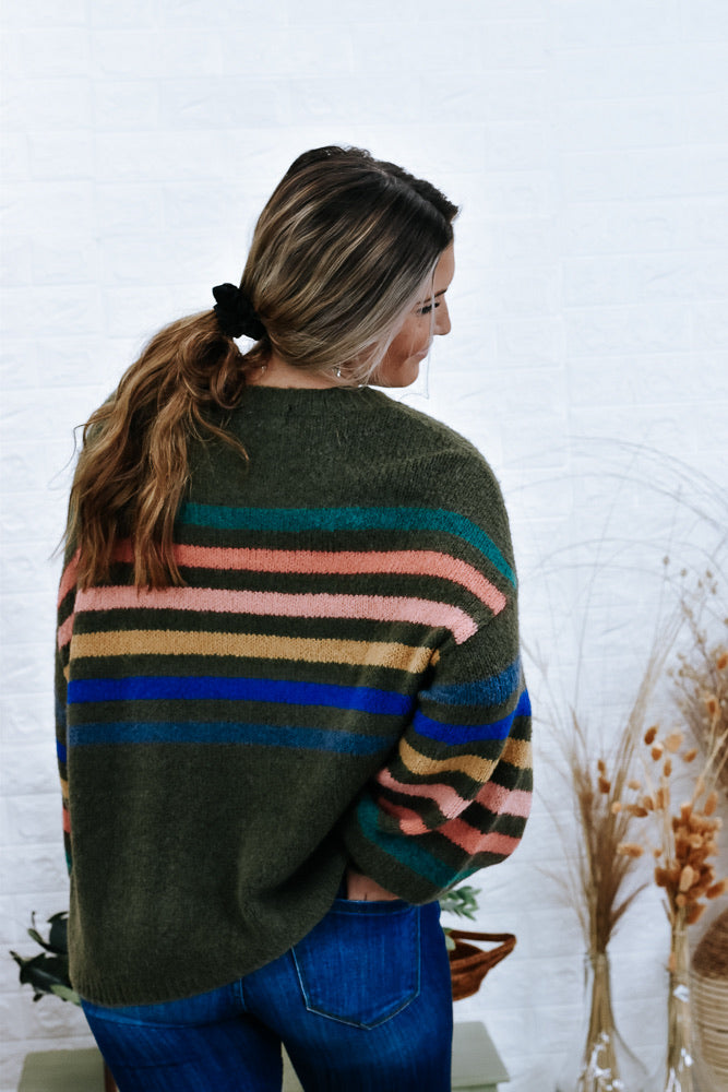 Pop Of Color Sweater , Green/Multi