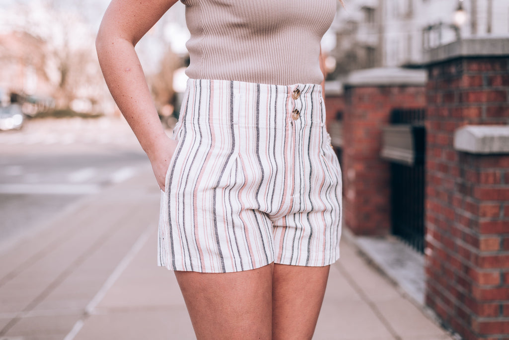 Flirty Striped Highwaisted Shorts