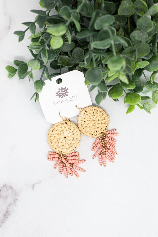 All The Vibes Earrings , Peach