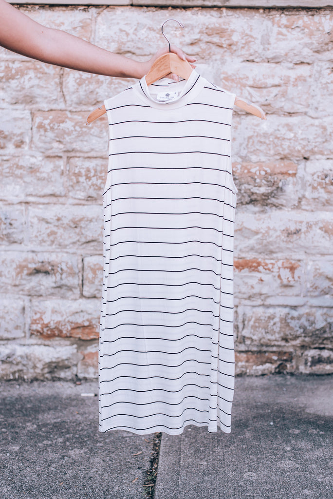 Sunday's Striped High Neck Dress, Ivory