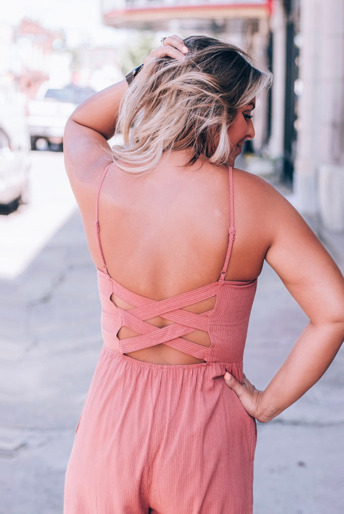 Brick Striped Button Jumpsuit