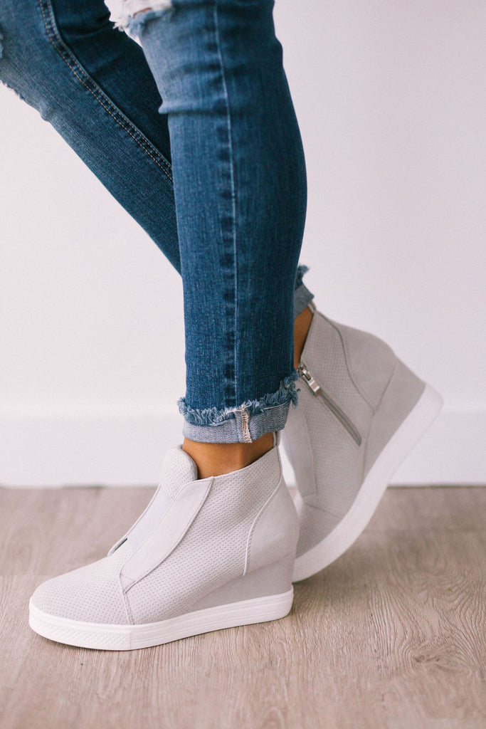 Zoe Wedge Sneaker, Grey
