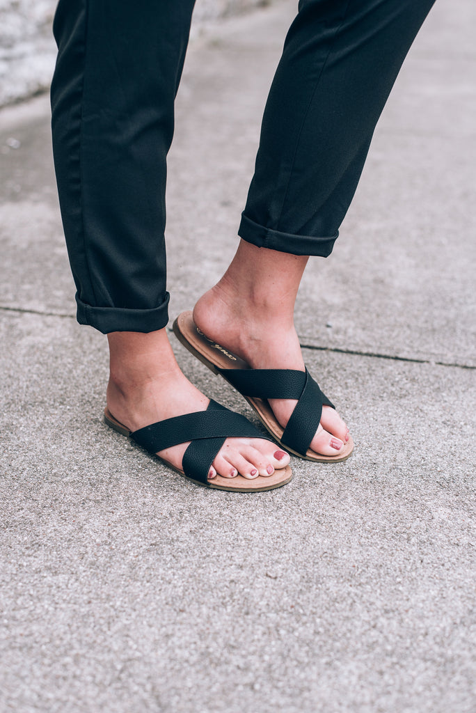 Daily Slide Sandals, Black