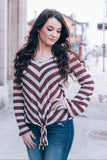 Miller Striped Top, Burgundy
