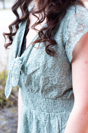 Riley Lace Romper, Sage
