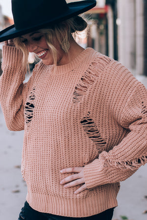 Penny Destroyed Sweater, Camel