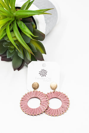 Raffia Wrapped Circle Earrings, Dusty Pink