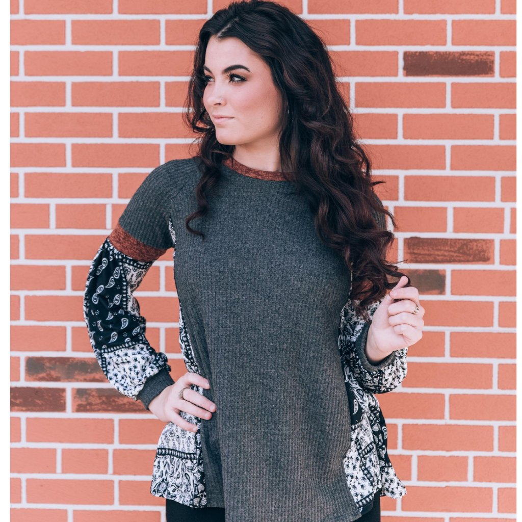Completely Captivating Waffle Knit Top - Grey