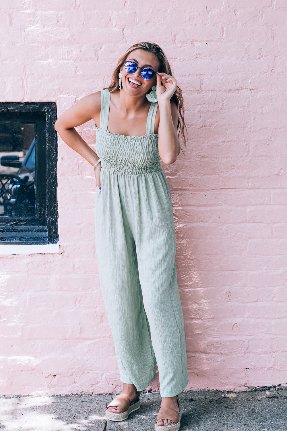 Give Me Melon Summer Jumpsuit, Sage