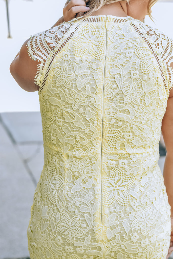 Pretty In Lace Dress , poppy yellow
