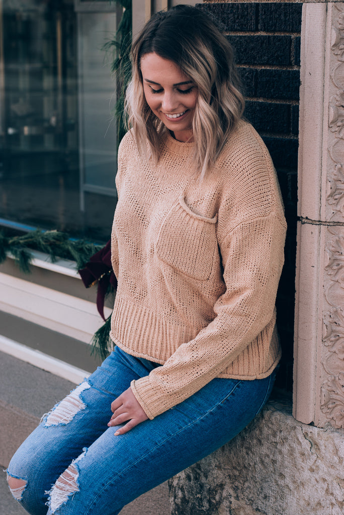 All Time High Stitched Detail Sweater, Honey