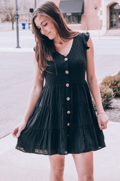 Dainty In Dots Tiered Dress , black