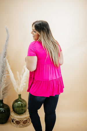 Basic Baby Doll Tunic Tee , Hot Pink