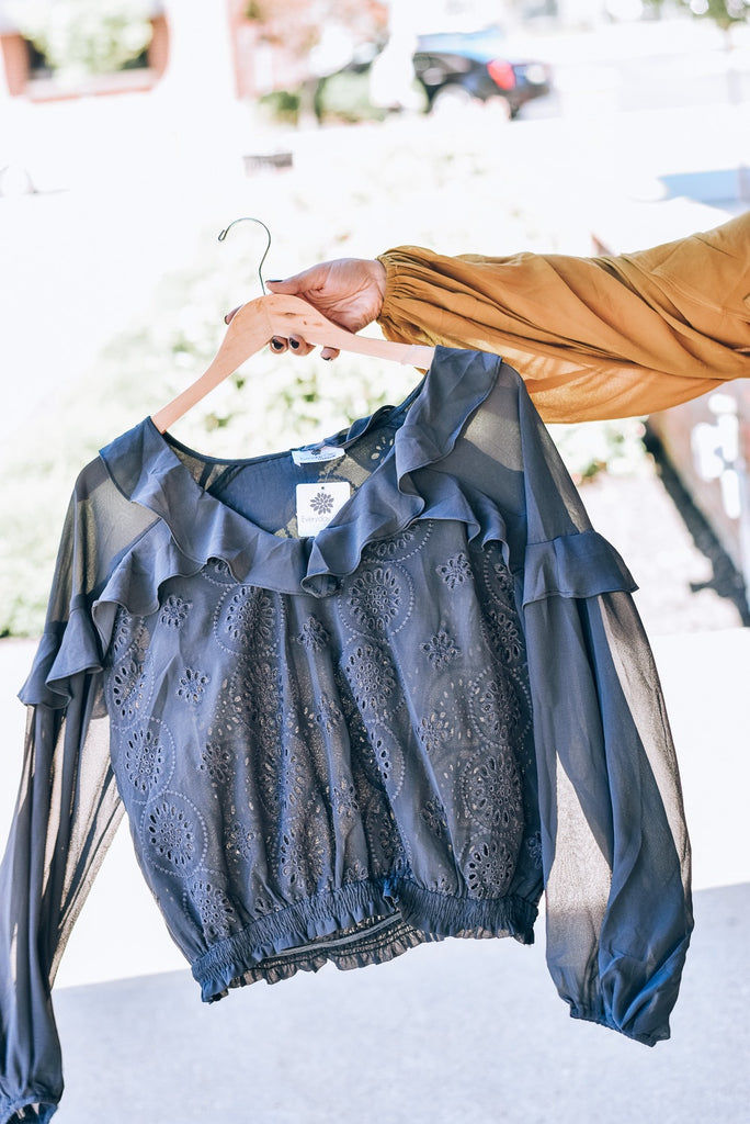 Find Your Own Way Blouse, Charcoal
