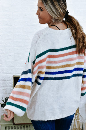 Pop Of Color Sweater , White/Multi