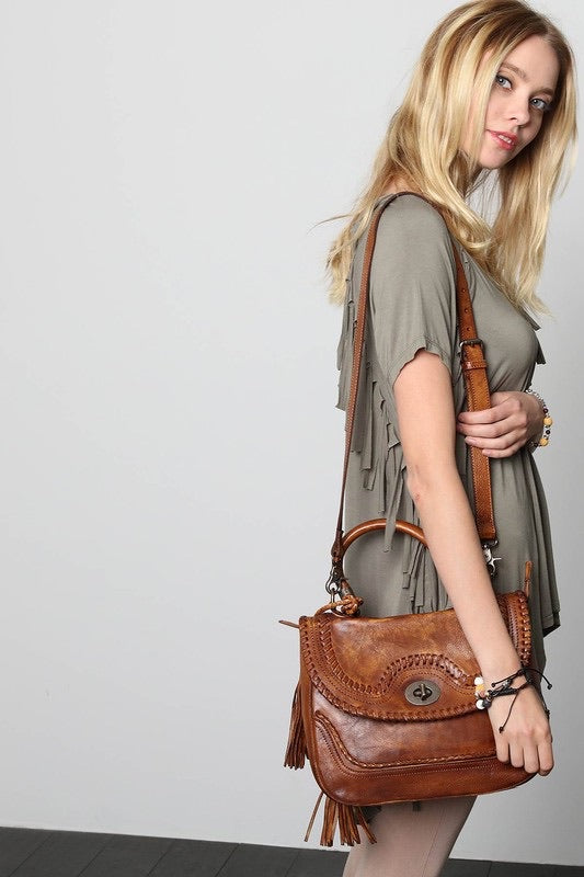 Leather Braided Satchel, Brown