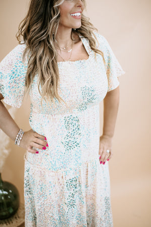 Full of Flutter Maxi Dress, Ivory/Teal/Peach