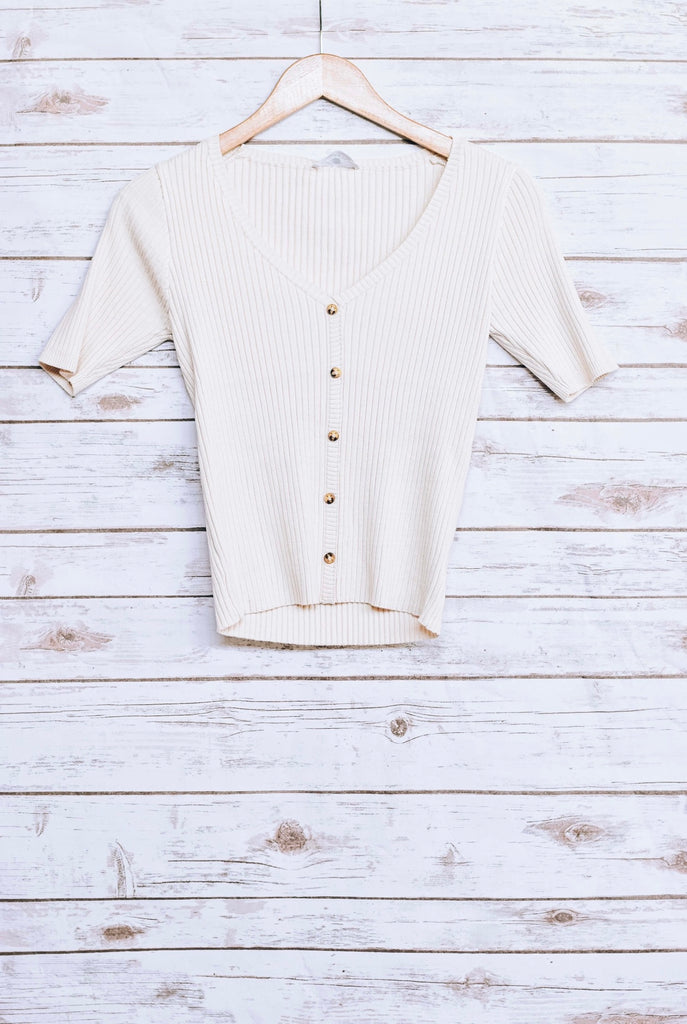 Ribbed Button Basic Knit Top, Natural