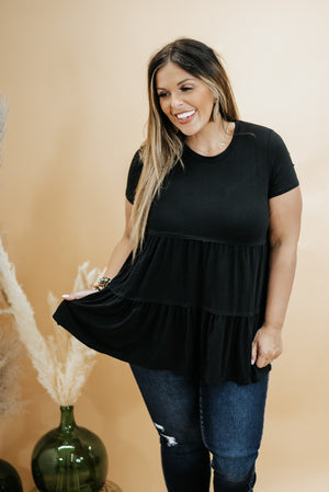 Basic Baby Doll Tunic Tee , Black
