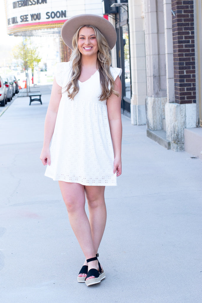 Eyelet Dreams Dress , Ivory