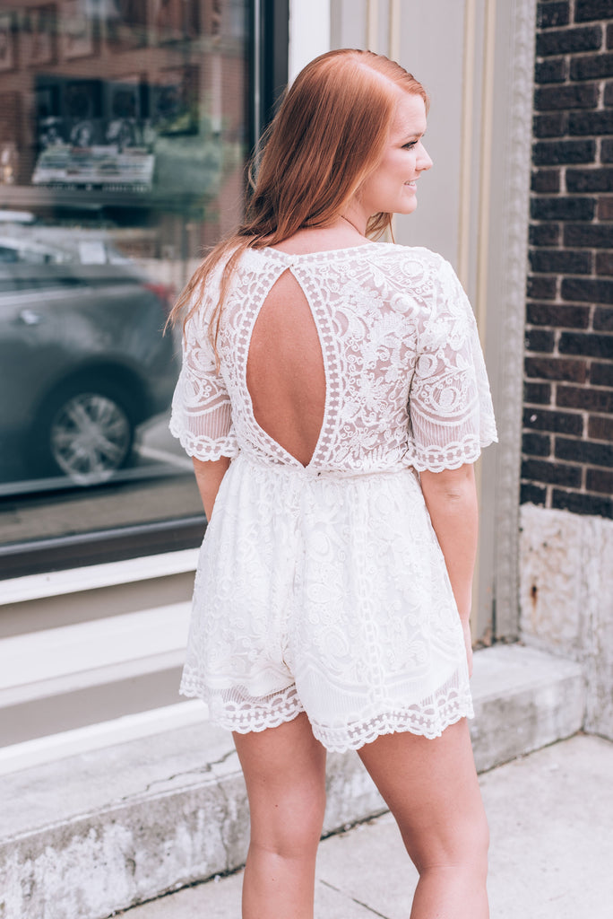 Fall in Love Lace Romper, Ivory
