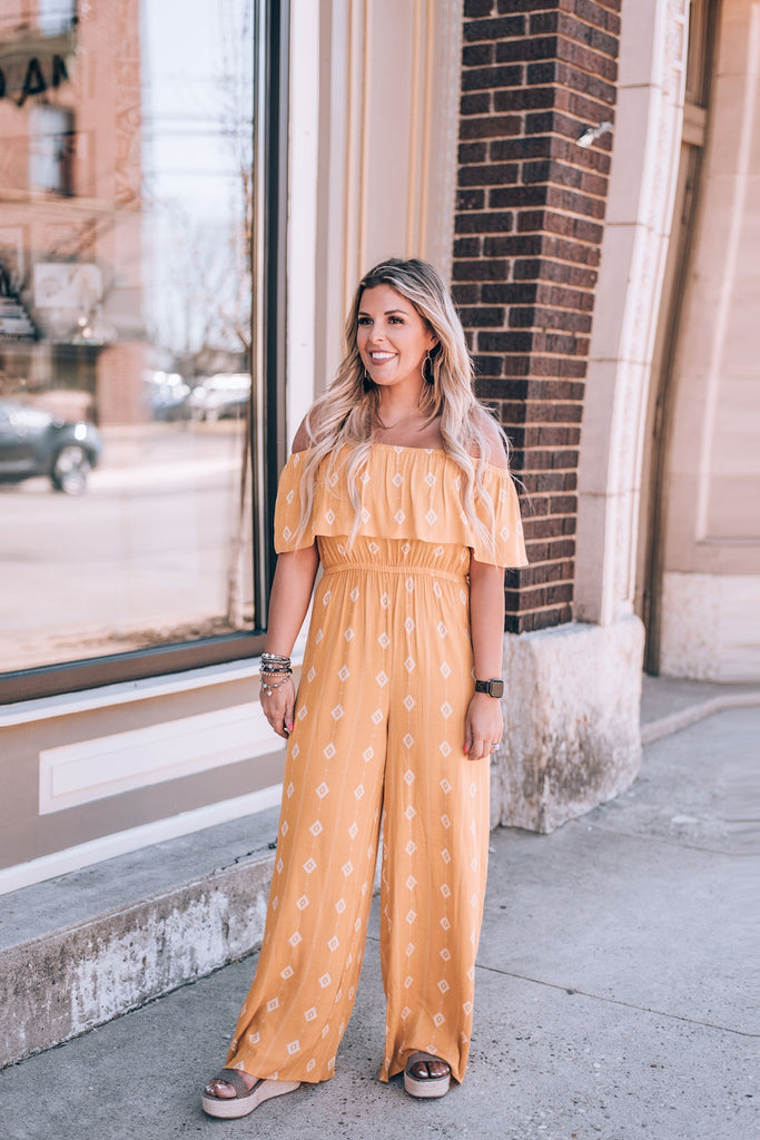 Diamond Matrix Jumpsuit, Mustard