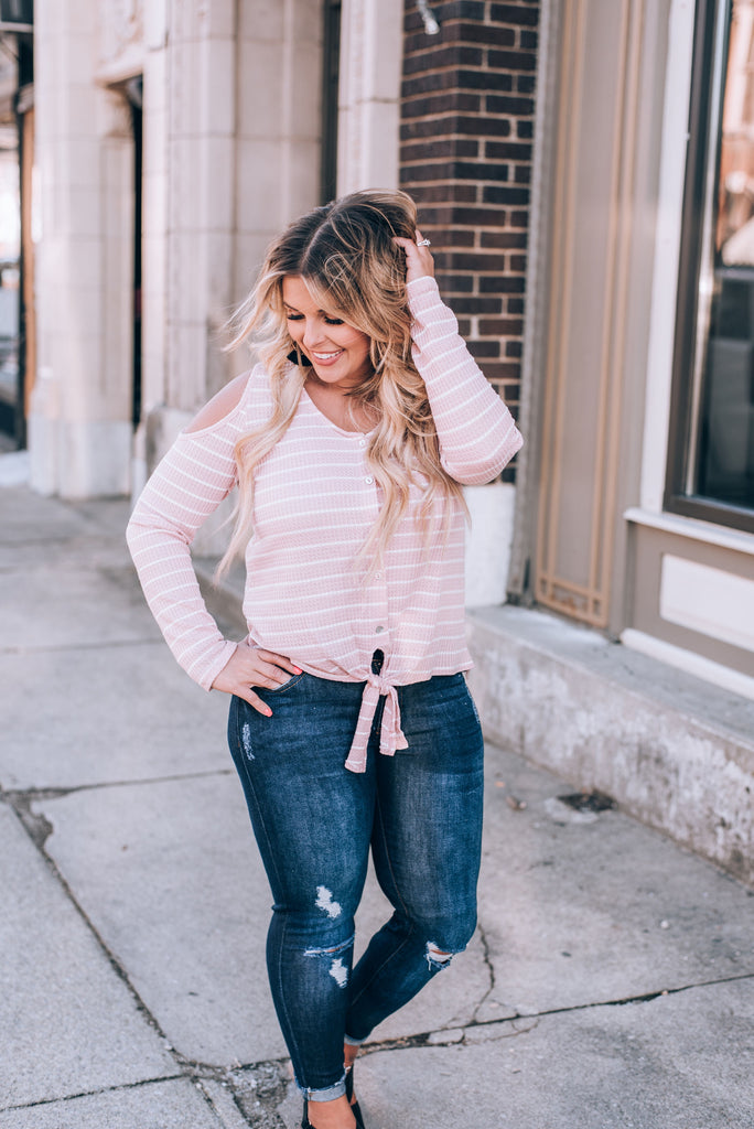 Easy Going Striped Cold Shoulder Top, Blush